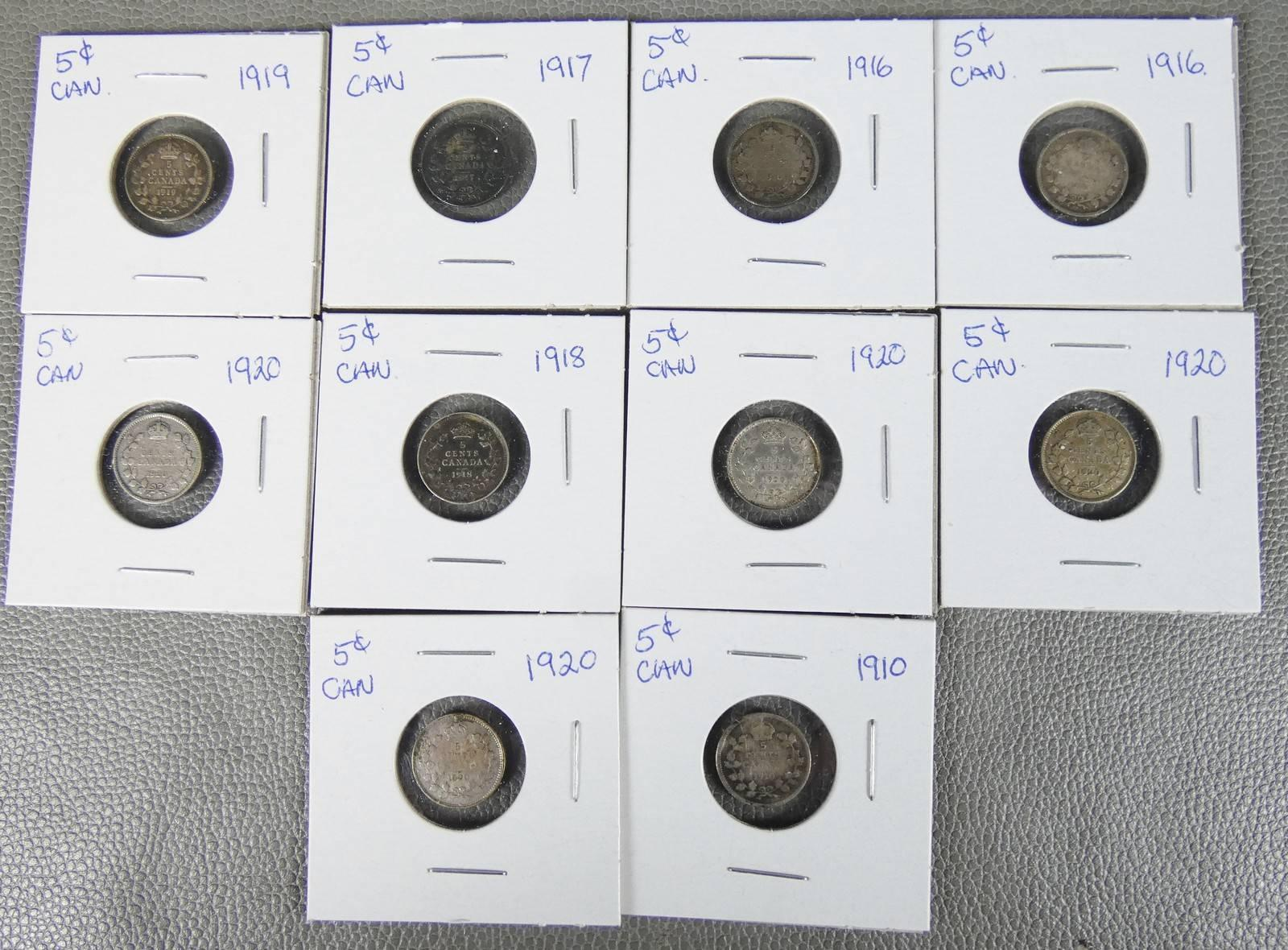 CANADIAN SILVER 5-CENT COINS