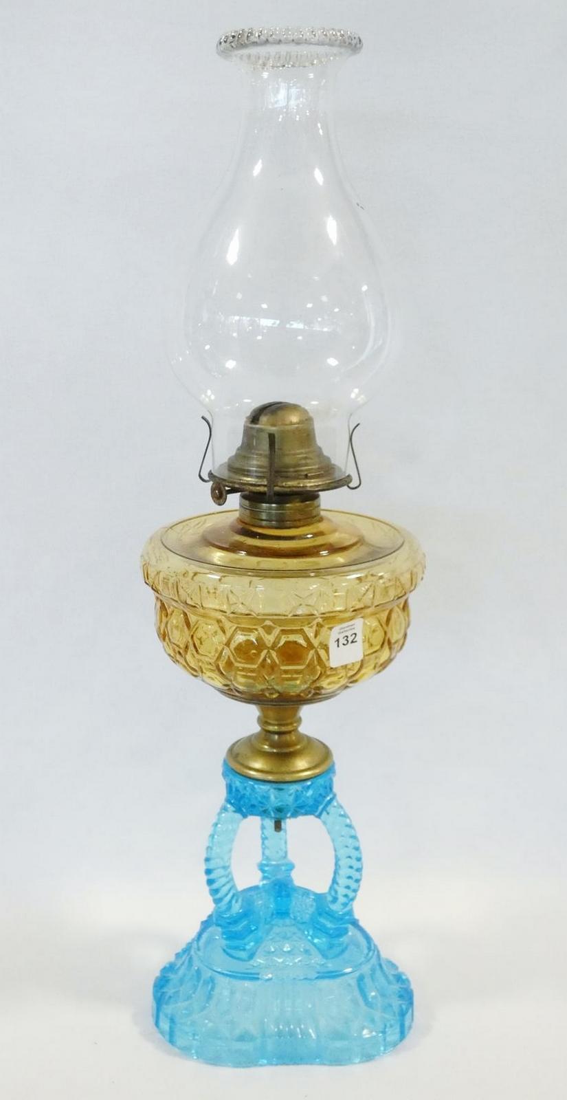 ANTIQUE COLOURED GLASS OIL LAMP