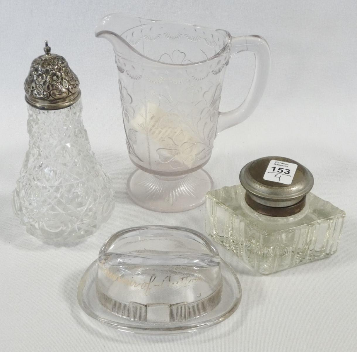 FOUR PIECES OF ANTIQUE GLASS