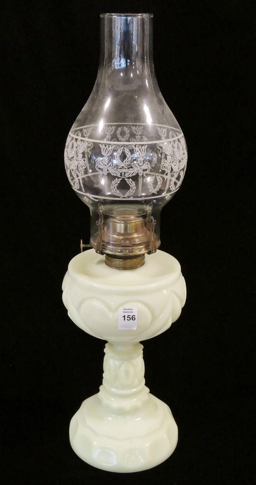 CUSTARD GLASS OIL LAMP