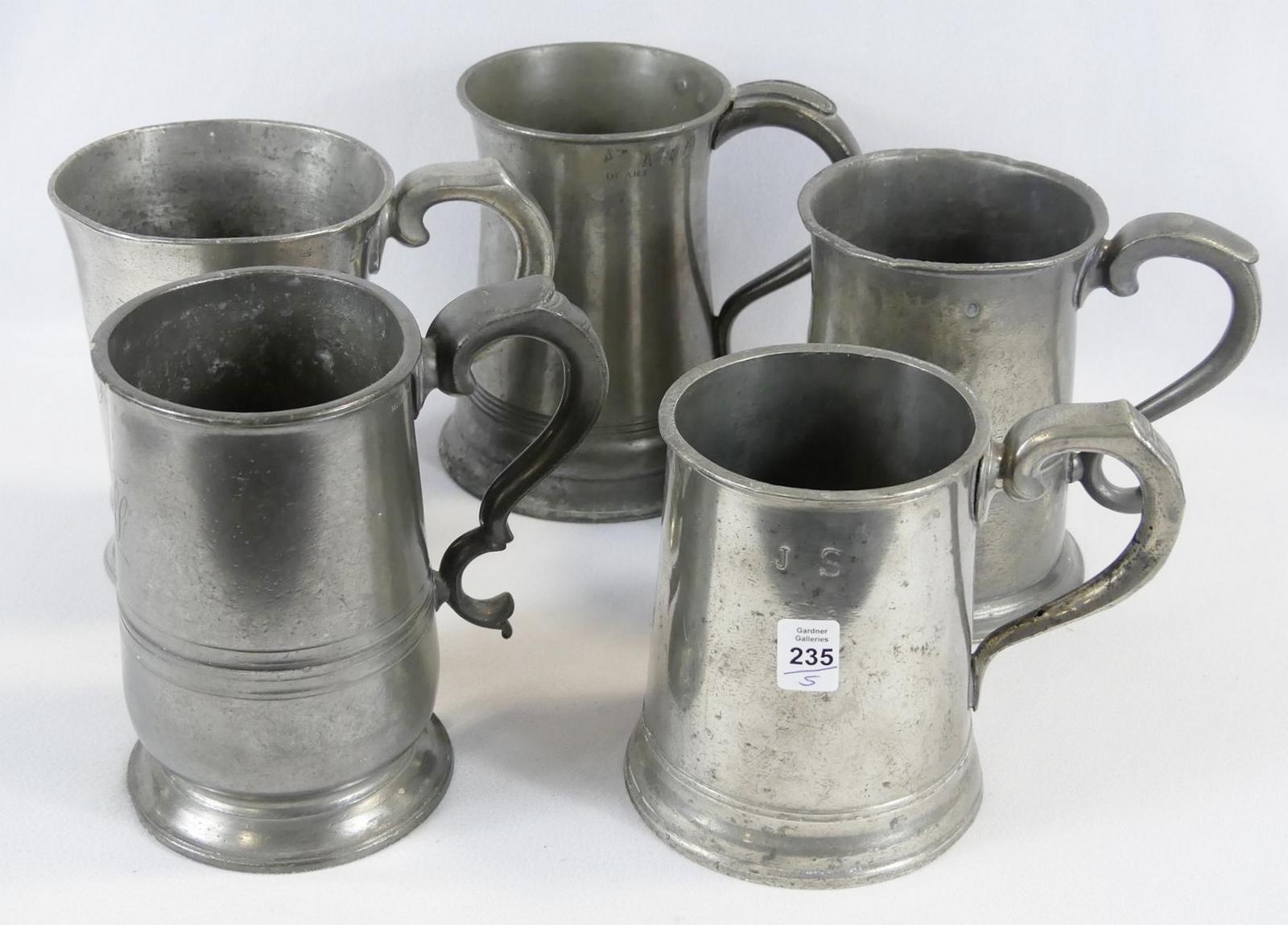 FIVE PEWTER TANKARDS