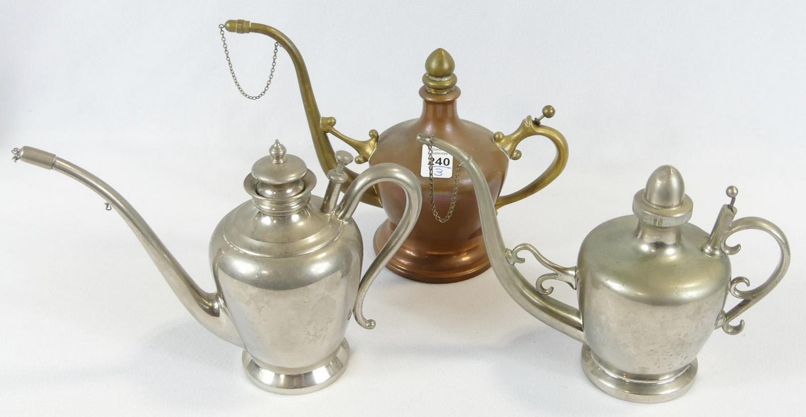 THREE KETTLE OIL LAMPS