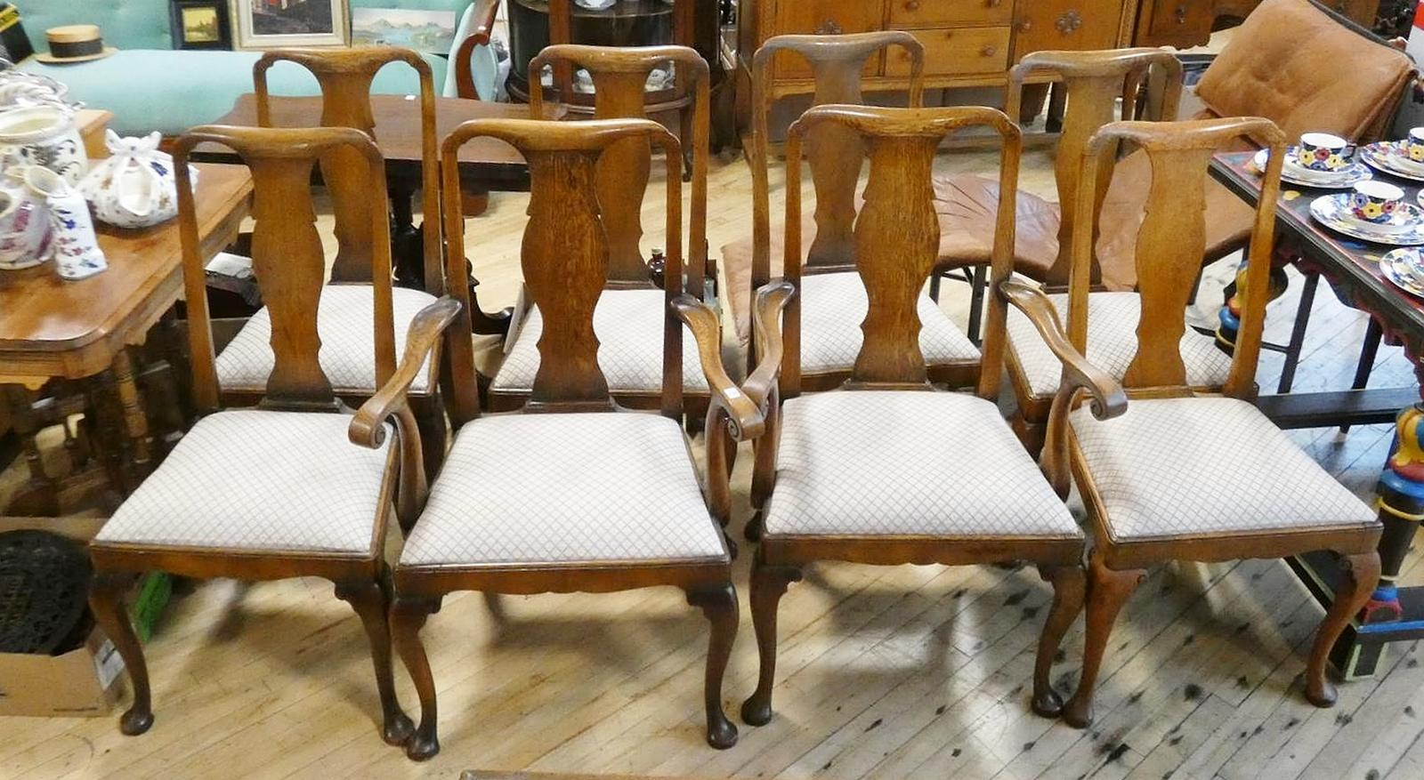 SET OF EIGHT OAK DINING CHAIRS