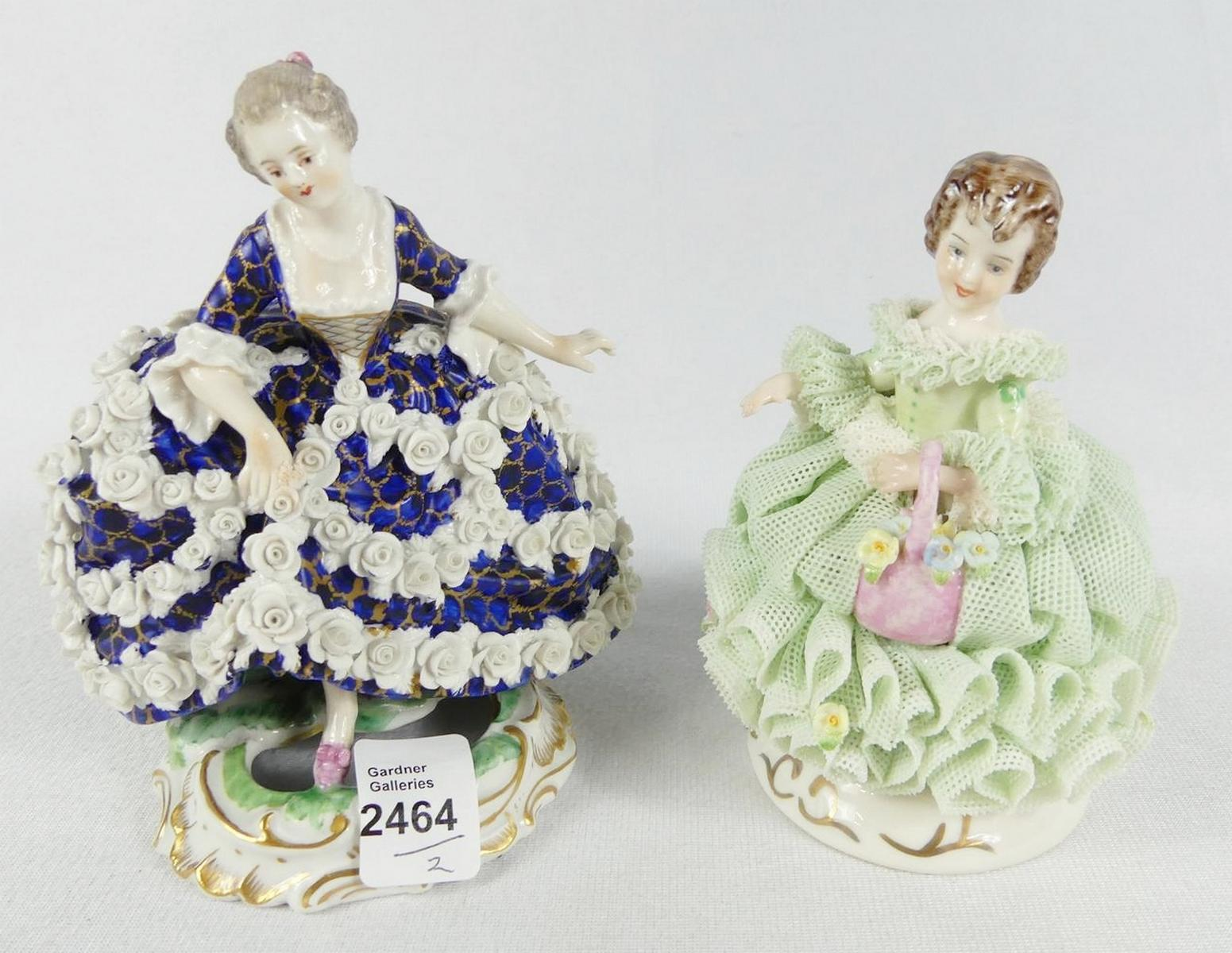 TWO LACY PORCELAIN FIGURINES