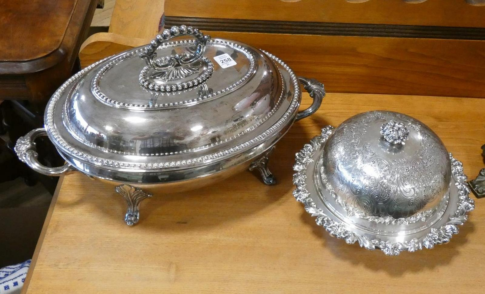 TWO SILVERPLATE SERVERS