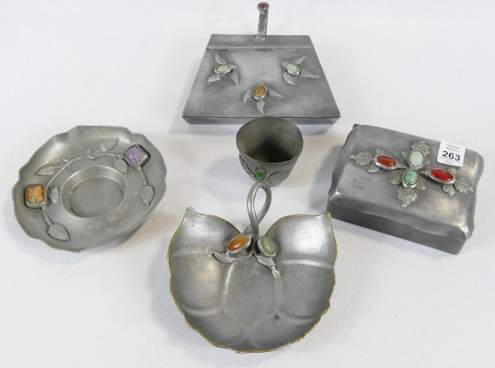 FIVE JEWELLED PEWTER ITEMS
