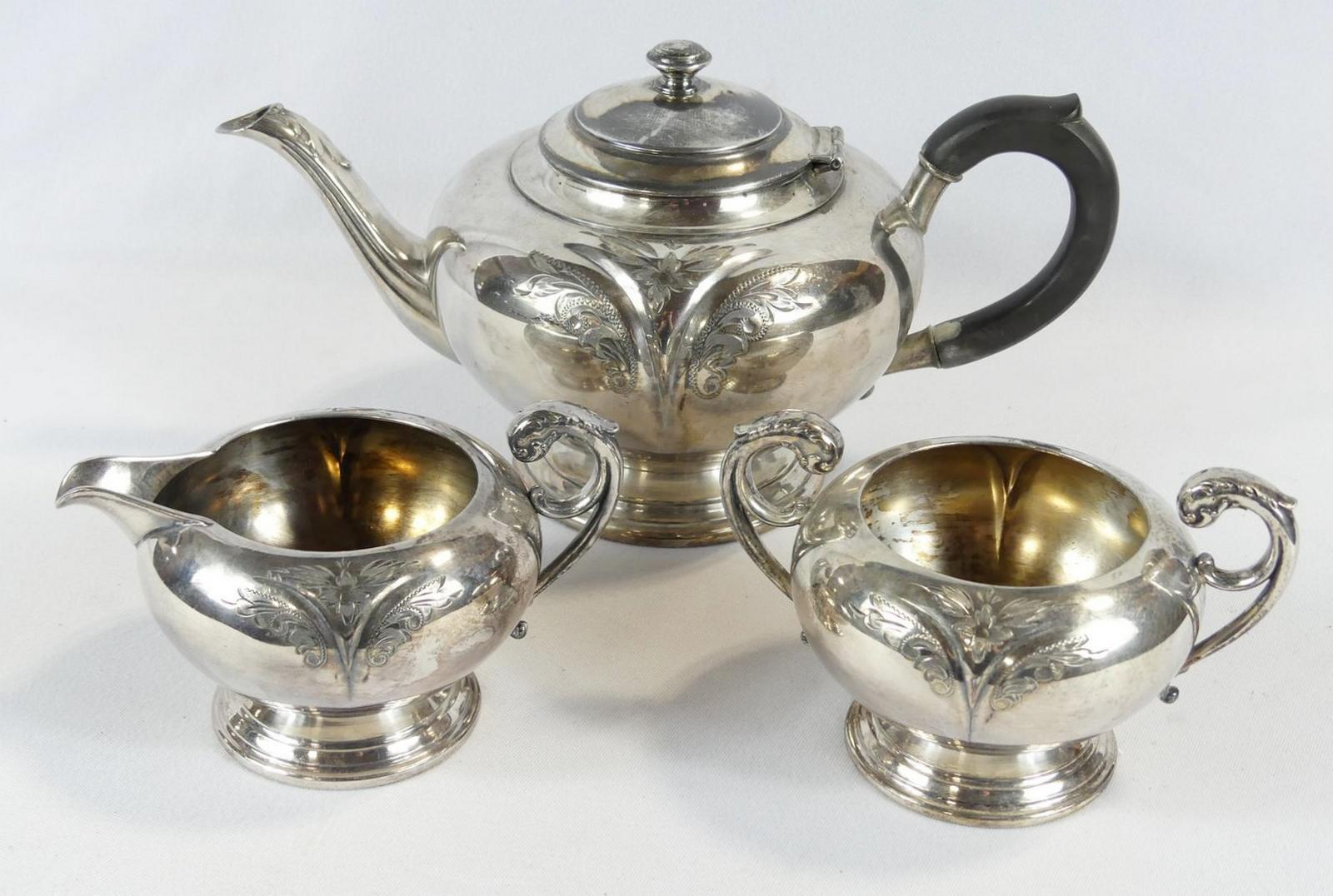 TWO SILVERPLATED TEA SETS