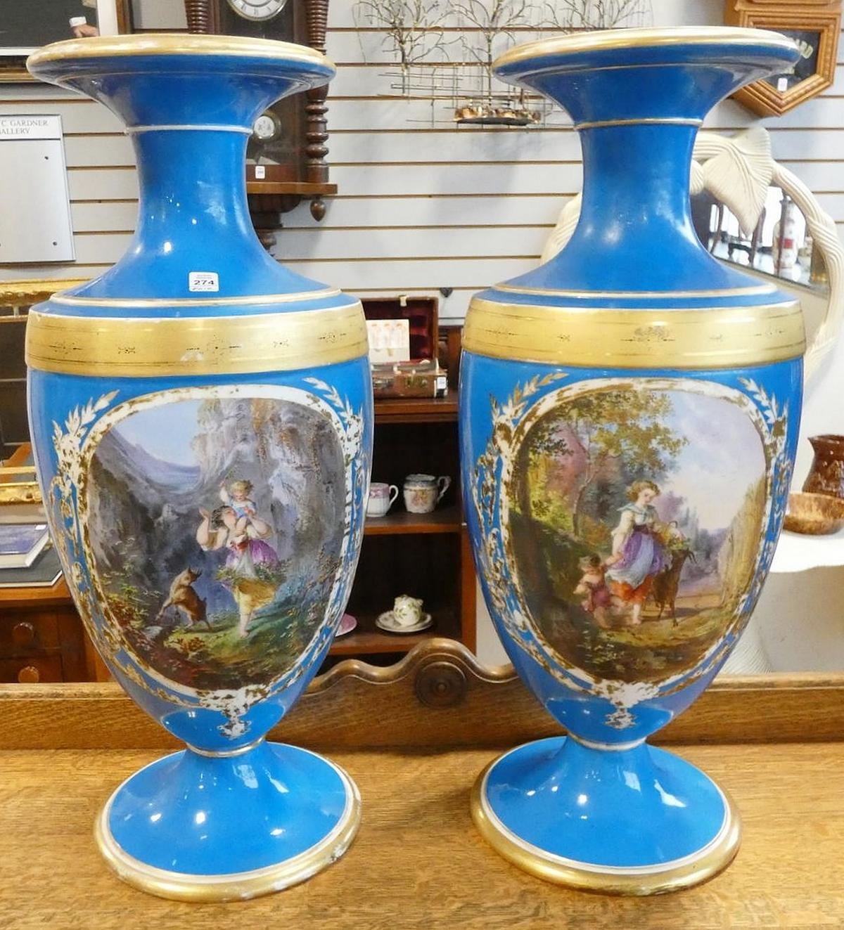 PAIR OF LARGE SEVRES VASES
