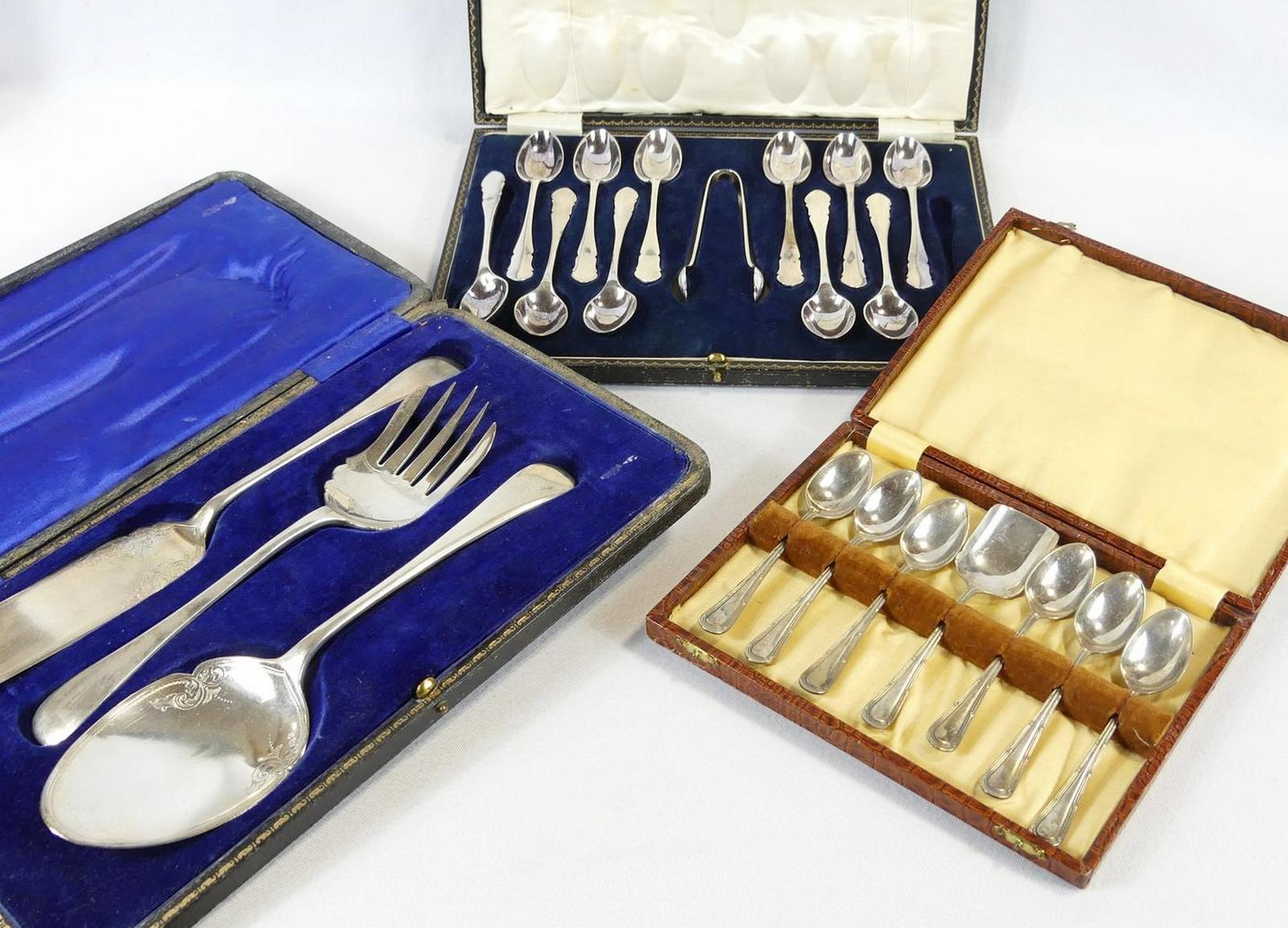 THREE CASES OF CUTLERY