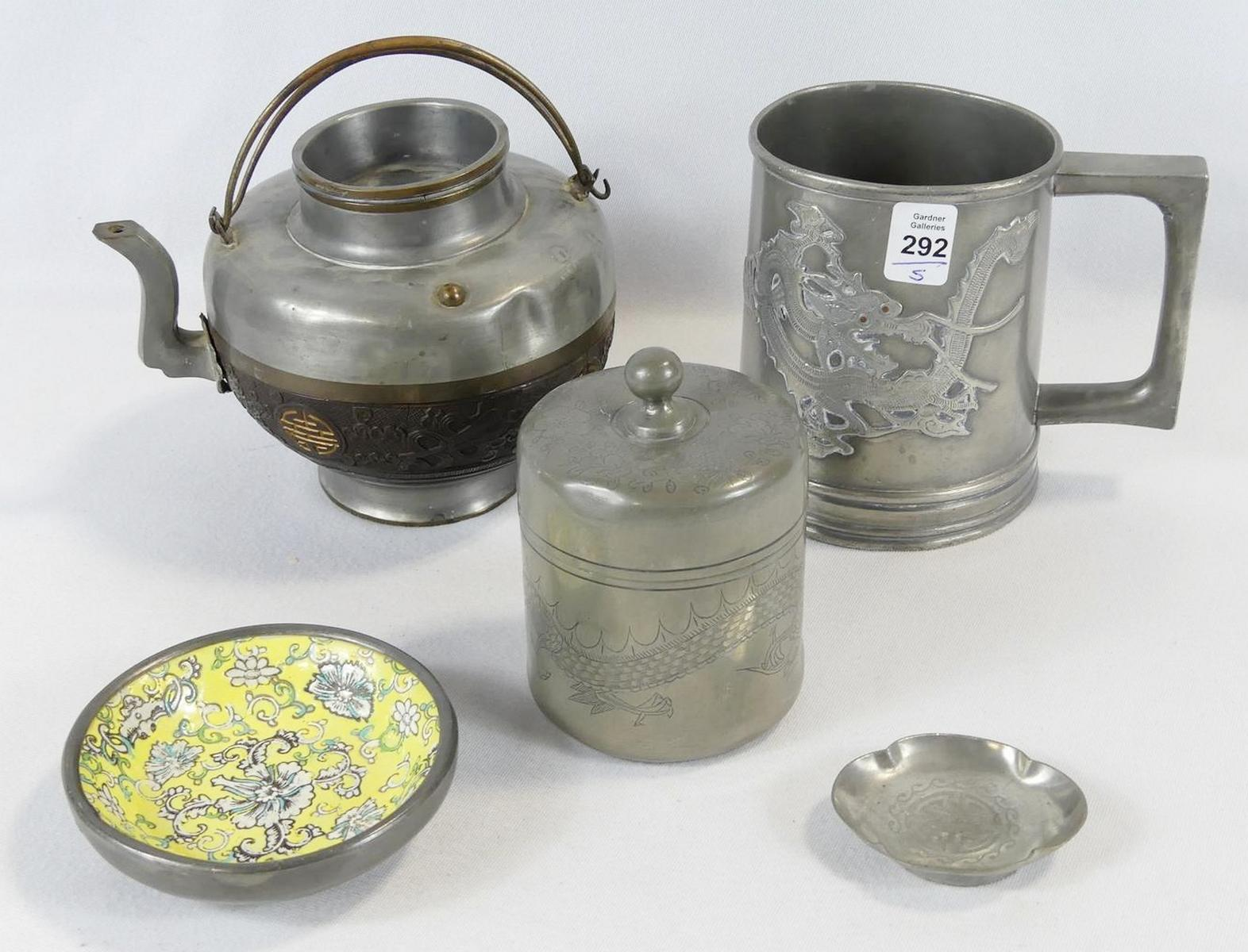 FIVE ASIAN PEWTER ITEMS