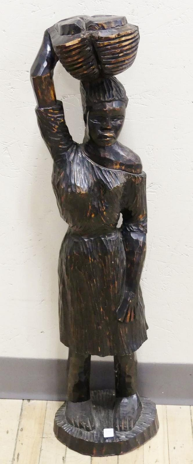 LARGE WOOD STATUE