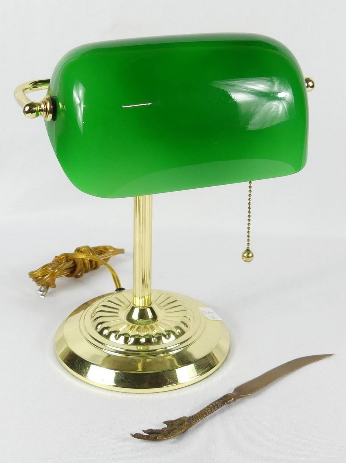 BANKER'S LAMP AND LETTER OPENER