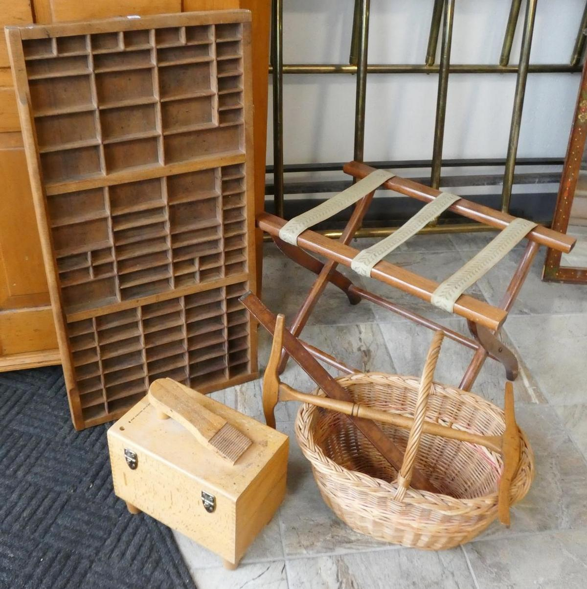 FIVE WOODEN ITEMS AND BASKET