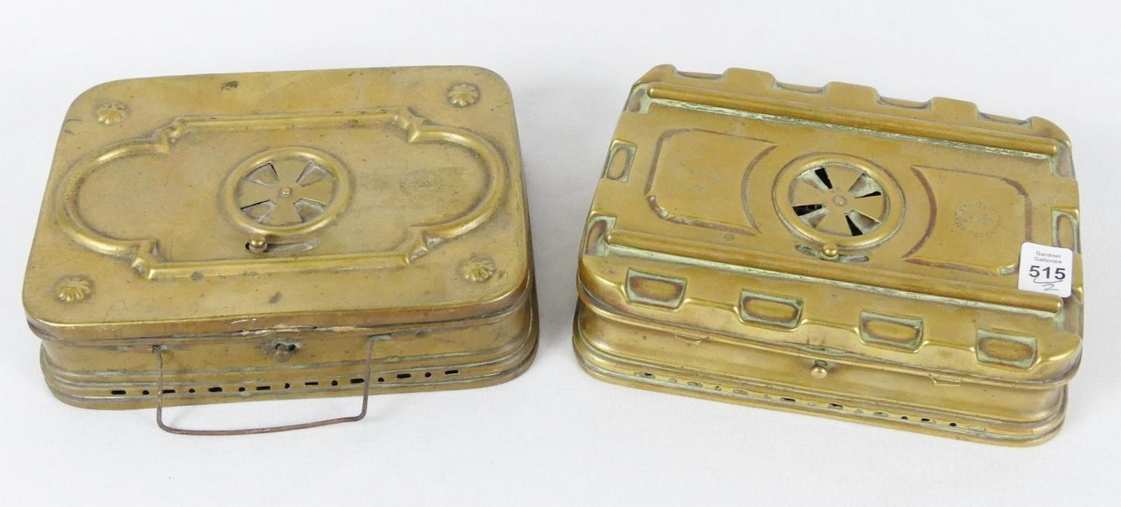 TWO ANTIQUE BRASS HEATERS