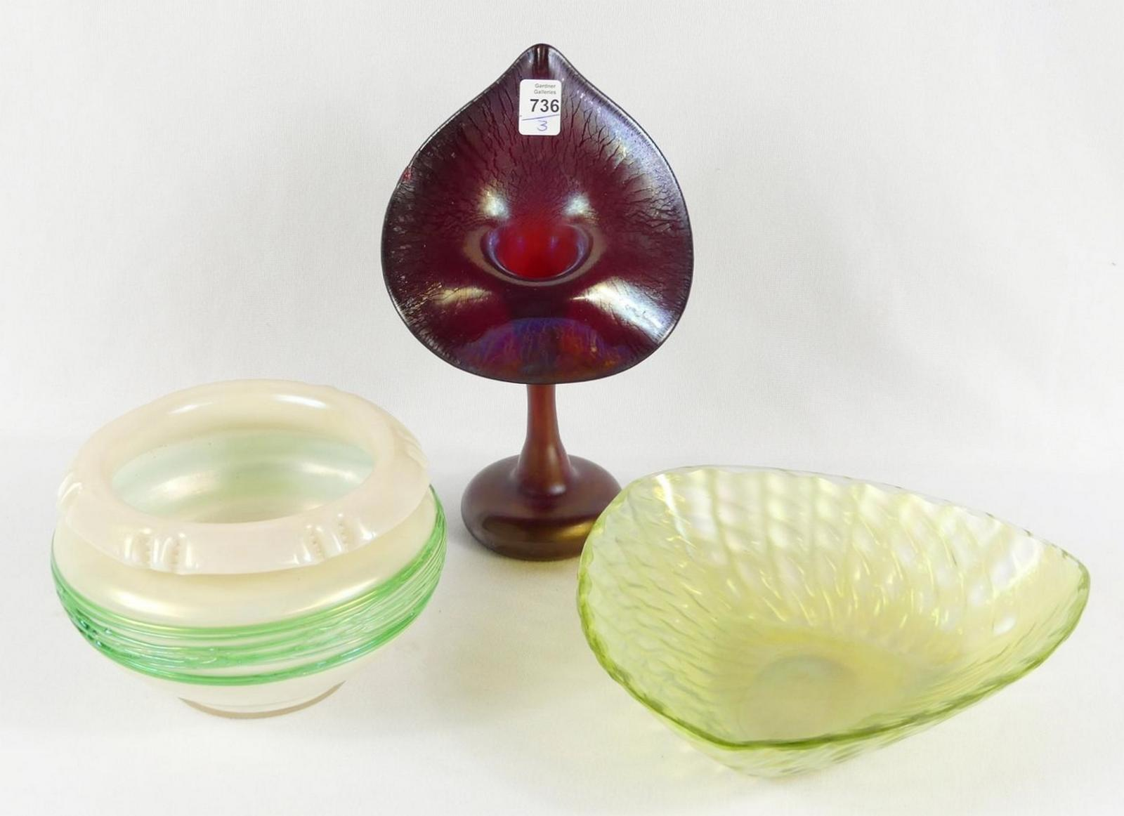 THREE PIECES OF IRIDESCENT GLASS