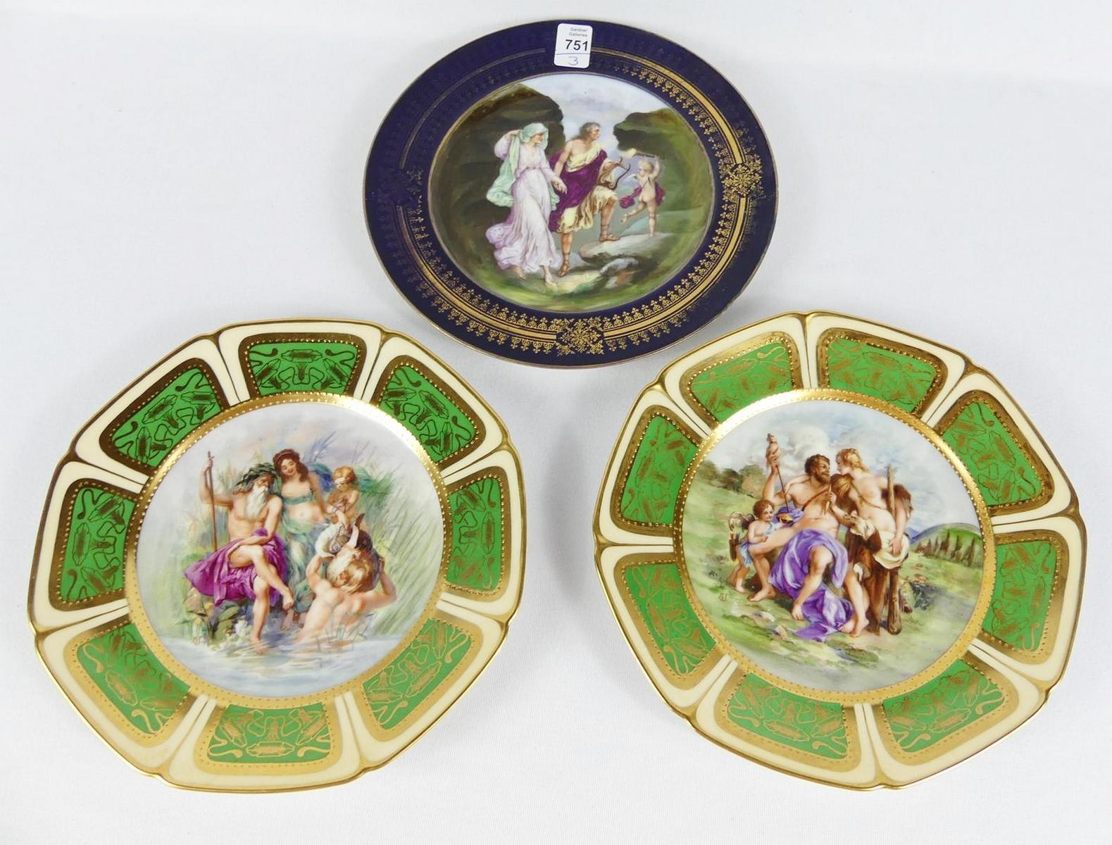 THREE PORCELAIN PLATES