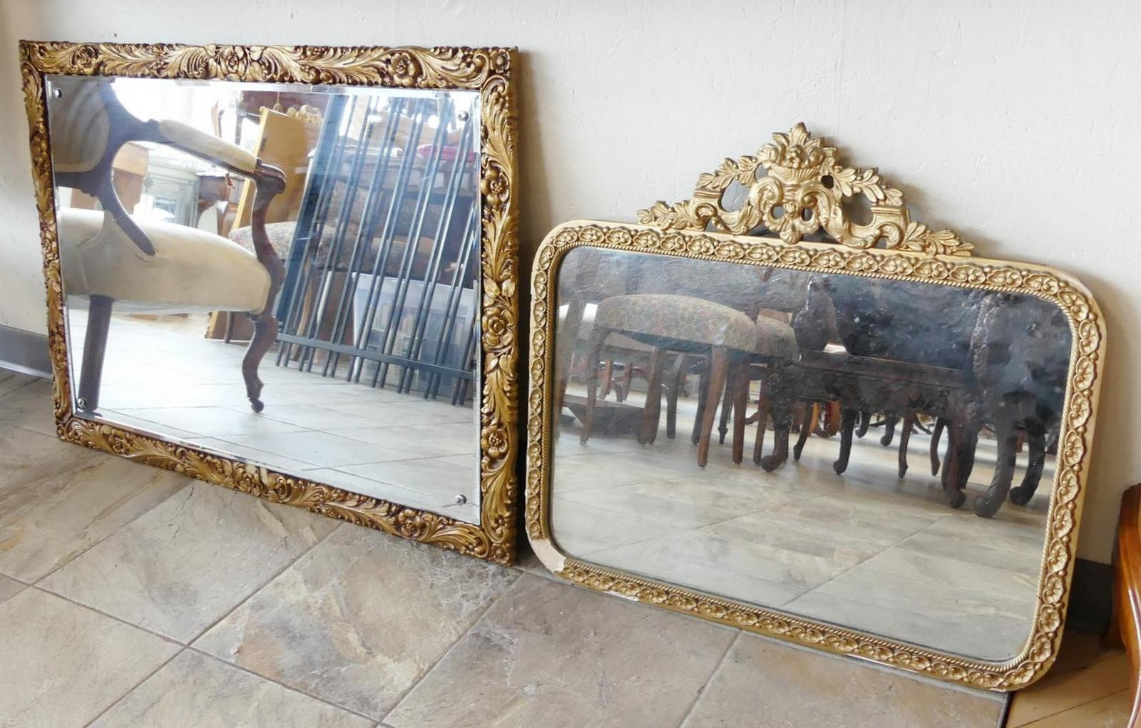 TWO GILTWOOD WALL MIRRORS