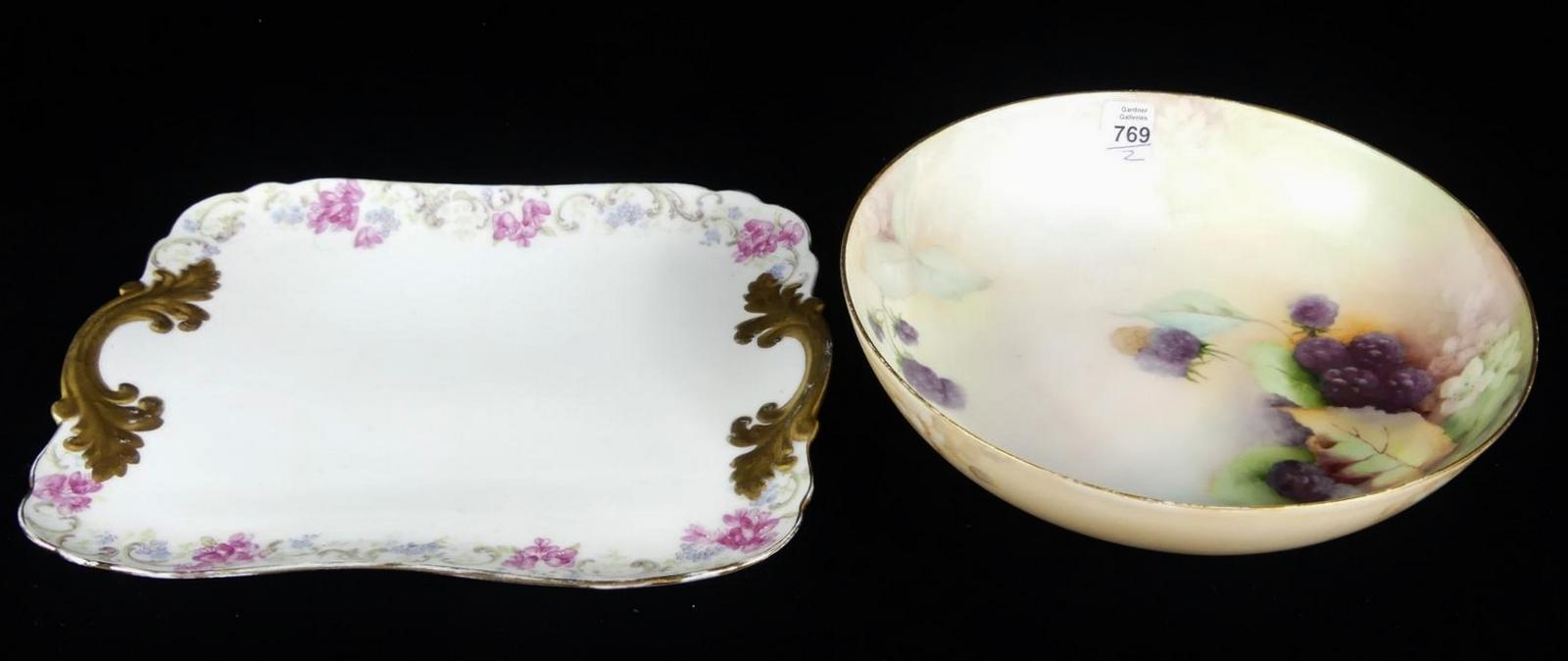 FOOTED BOWL AND DRESSER TRAY
