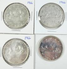 FOUR CANADIAN SILVER DOLLARS