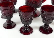 RUBY GLASS WATER PITCHER SET