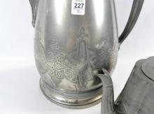 PEWTER FLAGON AND TEAPOT