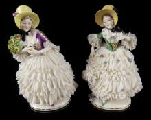 TWO DRESDEN FIGURINES