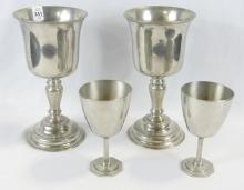 PAIR OF CHALICES AND GOBLETS