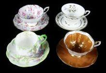 4 ENGLISH CUPS & SAUCERS