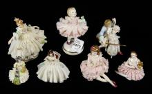 7 SMALL DRESDEN FIGURINES