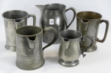FIVE PEWTER PITCHERS