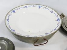 PEWTER PLATES AND WARMING BOWLS