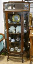 OAK BOW-FRONT CHINA CABINET
