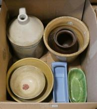 BOX LOT OF STONEWARE AND POTTERY