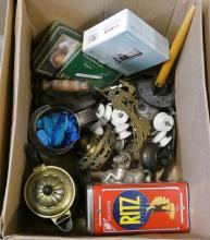 BOX LOT OF METAL WARE, ETC.