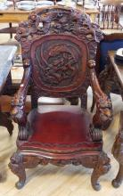 CARVED ASIAN THRONE CHAIR