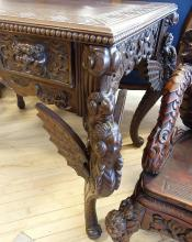 CARVED ASIAN LIBRARY TABLE