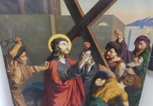 LARGE EARLY RELIGIOUS OIL PAINTING