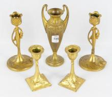 CANDLESTICKS AND VASE