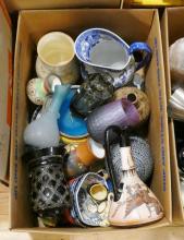 BOX LOT OF POTTERY, ART GLASS, ETC.