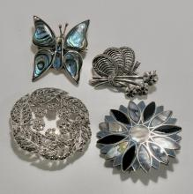 STERLING BROOCHES
